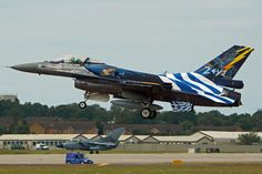 Hellenic Air Force F16 arriving at Fairford for RIAT 2015
