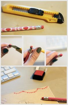 pencil eraser into bunting stamp