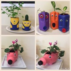 The 3 Rs - Reduce - Recycle - Reuse! Plastic Bottle Planter, Plastic Bottle Flowers, Plastic Bottle Crafts, Recycle Plastic Bottles, Recycled Garden, Recycled Crafts, Diy Crafts Videos, Diy Crafts For Kids, Diys