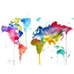 "World Map 8.5 x 11"" Print of original watercolor illustration"