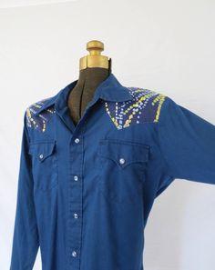 Mens Blue Western Snap Shirt, 70s Sears Blue Cowboy Shirt, Hippie shirt, Honky Tonk shirt, Size L, Jackpot Jen Vintage by JackpotJen on Etsy