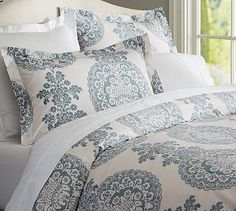 Lucianna Medallion Duvet Cover & Sham - Blue #potterybarn  could totally add solid navy and turquoise pillows to brighten this up @Jackie Godbold Simpson