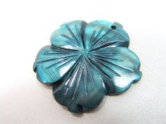 Dark Teal Mother of Pearl 40mm Carved Hibiscus Flower Pendant