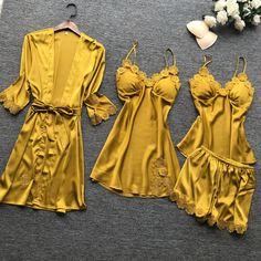 women pajamas sets pyjamas women sexy lace sleepwear 4 pieces summer satin elegant silk pijamas nightwear with chest pads Satin Sleepwear, Sleepwear Sets, Satin Pajamas, Sleepwear Women, Nightwear, Pyjamas, Pyjama Sexy, Sexy Pajamas, Pajamas Women