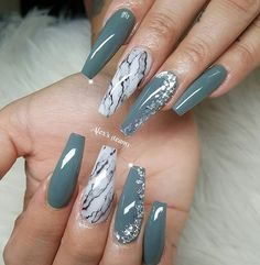 Beauty nails 36 Trendy as well as Appealing Marble Coffin Nails Design Nageldesign Basement Bedroom Marble Nail Designs, Acrylic Nail Designs, Nail Art Designs, Nails Design, Design Design, Green Nail Designs, Fancy Nails, Cute Nails, Pretty Nails