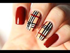 Un nail art Burberry très facile - YouTube