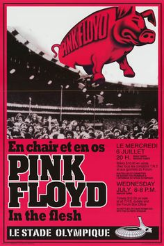 """A great poster from Pink Floyd's concert at Montreal's Le Stade Olympique (Olympic Stadium) during the 1977 Animals Tour! Fully licensed. Ships fast. 24x36 inches. Take some """"Time"""" to check out the re"""