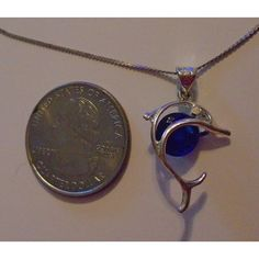 new Tiny DOLPHIN fish necklace, blue stone, chain & bail stamped 925 Listing in the Necklaces,Costume Jewelry,Jewelry & Watches Category on eBid United States | 150101551