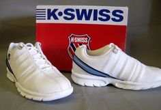 54.45$  Buy now - http://vihwy.justgood.pw/vig/item.php?t=hhk58n023411 - NEW Womens K Swiss Kivik US Sz 6.5 Medium Walking Shoe White with blue accents