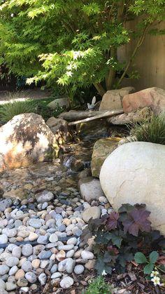 Landscaping With Rocks, Backyard Landscaping, Gardening With Rocks, Decorative Rock Landscaping, Dry Riverbed Landscaping, River Rock Landscaping, Modern Japanese Garden, Japanese Landscape, Japanese Garden Backyard