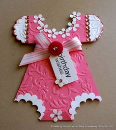 Baby Onesie card by - Cards and Paper Crafts at Splitcoaststampers Baby Girl Cards, New Baby Cards, Cricut Cards, Stampin Up Cards, Baby Shower Cards, Baby Shower Gifts, Birthday Wishes, Birthday Cards, Baby Scrapbook
