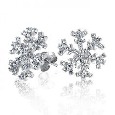 Bling Jewelry Winter Snowflake Micro Pave CZ Stud earrings 925 Sterling Silver * Be sure to check out this helpful article. Bling Jewelry, Crystal Jewelry, Jewlery, Crystal Earrings, Silver Jewellery, Snowflake Jewelry, Black Diamond Jewelry, Christmas Snowflakes, Sterling Silver Earrings Studs