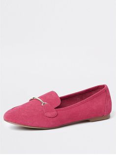 d71918d2f8a River Island River Island Suede Wide Fit Loafers- Pink