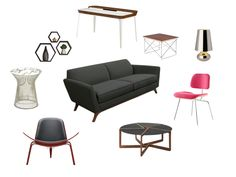 Mid Century Modern Collage. Couch and shelves