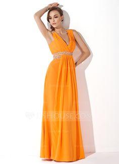 Prom Dresses - $128.99 - A-Line/Princess V-neck Floor-Length Chiffon Prom Dress With Ruffle Beading (018004849) http://jjshouse.com/A-Line-Princess-V-Neck-Floor-Length-Chiffon-Prom-Dress-With-Ruffle-Beading-018004849-g4849
