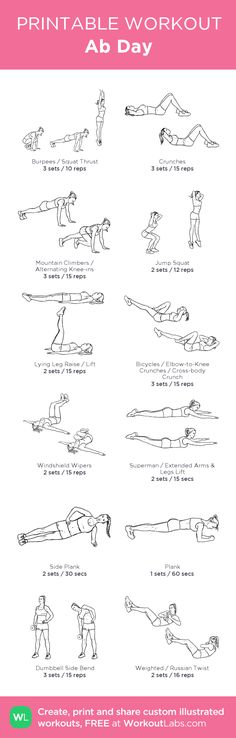 Ab Day: my visual workout created at WorkoutLabs.com • Click through to customize and download as a FREE PDF! #customworkout