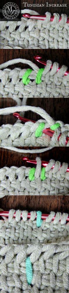 Tunisian increase/decrease. Crochet.