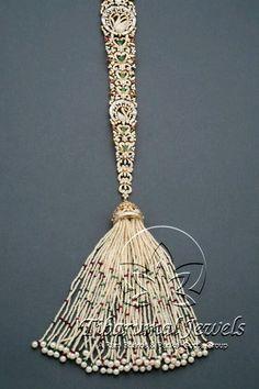 Tiraa by Tibarumal Jewels Royal Jewelry, India Jewelry, Hair Jewelry, Diamond Jewelry, Jewlery, Gold Hair Accessories, Wedding Accessories, Wedding Jewelry, Bridal Hairdo