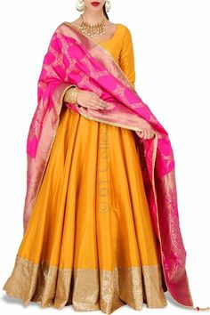 Marigold Anarkali Banarasi Dupatta - - - Marigold Anarkali Banarasi Dupatta Source by patwardhansupri Designer Party Wear Dresses, Kurti Designs Party Wear, Lehenga Designs, Indian Attire, Indian Wear, Indian Outfits, Ethnic Outfits, Modern Outfits, Indian Gowns Dresses