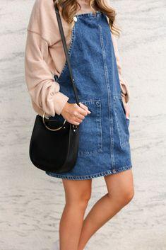 How to Style a Pinafore Dress - Twenties Girl Style  Pinafore Dress // Denim Dress // Overall Dress // Free People Sweatshirt // Adidas