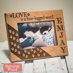 Personalized Dog Picture Frame Engraved on Wood  Dog by GiftedOak