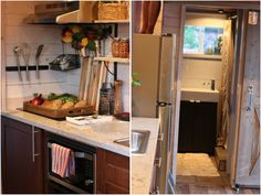 """The """"Barn Chic"""" tiny house; a 300 sq ft tiny house on wheels. Featured on Tiny House Nation and now offered for sale! Tiny House Nation, Small Houses For Sale, Large Fridge, Tiny House Company, Tiny House Exterior, Built In Microwave, Modern Tiny House, Tiny Bathrooms, House Inside"""