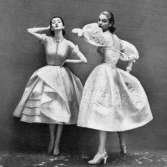 Dovima (left) and Jean Patchett, 1950s