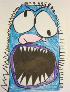 There's a Monster Under My Bed kindergarten art idea project