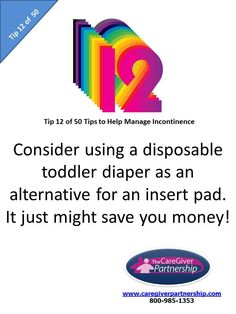 Tip 12 of 50 Tips to Help Manage Incontinence