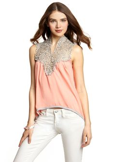 ESLEY Sleeveless Tank with Lace Neck Detail