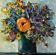 "Daily Paintworks - ""Acrylic Skins Floral"" - Original Fine Art for Sale - © Debbie Yacenda"