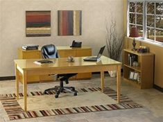Beautiful Home Office setup.  ~> Table desks are in! This Luminary series furniture configuration by Mayline is for sale at OfficeAnything.com in your choice of two finishes. #Luminary #TableDesk #WritingDesk