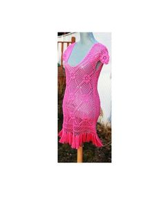 Hot Pink Crochet Cotton Dress with Tassels Perfect by DearAlina