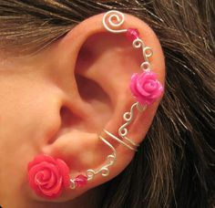 """Non Pierced Ear Cuff  """"Roses are Hot Pink"""" Cartilage Conch Cuff Some Rose COLORS are on BACK ORDER Color Choices. $12.00, via Etsy."""