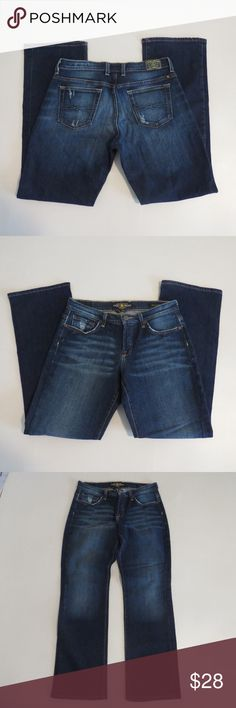 """Lucky Brand Easy Rider 8/29 Dark Wash Jeans EUC Lucky Brand Easy Rider Jeans Size 8/29 31"""" Inseam Style - 7W10806 Cut # OC-17311 Excellent Used Condition  Like other items in my closet?  Make a bundle and I'll send my best offer! Lucky Brand Jeans Boot Cut"""