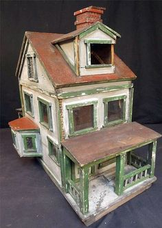 1911 Folk Art Primitive Doll House Made from East Penn Distillery Crate.