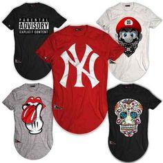 Camisa Camiseta Long Line Oversized Swag Masculina Hip Hop - R  48 f16e57181dc