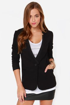 Aryn K Executive Sweet Black Blazer at Lulus.com!