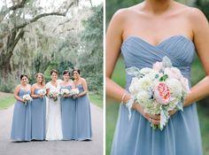Monique Lhuillier french blue bridesmaid dresses at a MAGNOLIA PLANTATION VERANDA WEDDING by Charleston wedding photographers Aaron and Jillian Photography