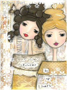 inspirational quote art, sister, friend, mixed media painting print - Print 8x10 - forever in my heart . Two girls, best friend, sisters art.