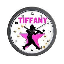 SOFTBALL STAR Wall Clock These awesome softball player clocks will look awesome on every soft ball player's wall. http://www.cafepress.com/sportsstar/13303627 #Softball #Lovesoftball #Sofballgift #Personalizedsoftball #Softballclock