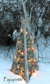 Olen jo jonkin aikaa mietiskellyt mitä uutta kivaa olisi hauska näperrellä jouluksi pihalle. Varastoista penkasin muutaman ohuen ajopuun ... Christmas Tree Ideas 2018, Outdoor Christmas Decorations, Christmas Time, Christmas Crafts, Twig Crafts, Diy And Crafts, Paper Crafts, Seasonal Decor, Holiday Decor