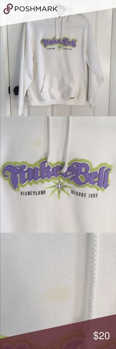 Tinkerbell Disneyland Hoodie Sweatshirt This is a hoodie purchased from Disneyland that says Tinkerbell on it. There are a few stains that I took pictures of and I honestly could barely see them! Very cute for the Tink or Disney lover. Let me know if you have questions or want to bundle! Disney Tops Sweatshirts & Hoodies