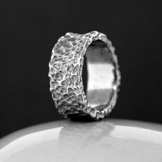 Silver Wedding Ring - Custom Made - Hand Carved - Sterling Silver - Mens Ring - Ladies Ring - Recycled Metal - Handmade - Satin Finish