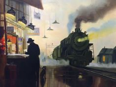 Man and Train Nocturne, Perspective Art, Railway Posters, Steam Locomotive, Final Fantasy, Watercolor Art, Cool Art, Aviation, Artsy