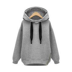 Grey Hooded Drawstring Zipper Loose Sweatshirt ($19) ❤ liked on Polyvore featuring tops, hoodies, sweatshirts, zipper top, sweat tops, zip top, sweat shirts y loose sweatshirt