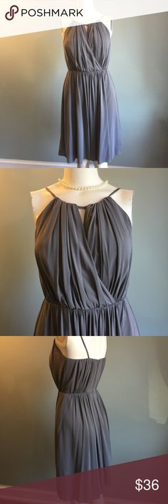 "J. Crew Gray Party Dress In good condition and has been dry cleaned, this sweet dress has back zipper, spaghetti straps, and flattering gathered bodice and waist. Lined. 69% acetate /23% nylon /8% spandex. Bust 31.5"" (with some give because of bodice design) waist 27"" length from shoulder to hem 37.5."" J. Crew Dresses"