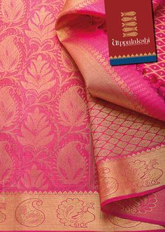 This handcrafted saree is heavily brocaded with gold. The beautiful gold designs have been woven with a princess in mind. This pink saree shimmers with gold, the beauty of which has to be seen to be believed. The occasion needs to be really grand! Indian Attire, Indian Wear, Indian Outfits, Silk Saree Kanchipuram, Kanjivaram Sarees, Wedding Sarees, Dress Wedding, Silk Saree Blouse Designs, Trendy Sarees
