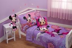 Disney 4 Piece Minnie's Fluttery Friends Toddler Bedding Set, Lavender by Crown Crafts Inc. $39.00. From the Manufacturer                Minnie and her fluttery friends float across this sweet toddler bedding set filled with flowers. Your little one will love climbing into bed with Minnie and her friends. This adorable bedding set will surely brighten up your childs room. Set includes Comforter, standard pillowcase, flat top sheet and fitted bottom sheet. 100% Polyester Mic...