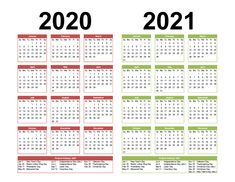 2 Year Calendar Printable 2020 2021 Word, PDF, Image – Free Printable 2020 Monthly Calendar with Holidays